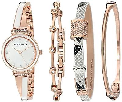 Anne Klein Women's AK/2342RWST Swarovski Crystal Accented Rose Gold-Tone and White Bangle Watch and Bracelet Set
