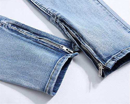 De La Pantalones Decoración Pantalones Cierre De De Mezclilla Pantalones Jeans Hombres Recto Ocio Corte Rasgados Mezclilla De ADELINA Hellblau Ropa Pantalones De De Los Jeans qOUAd6qHnx