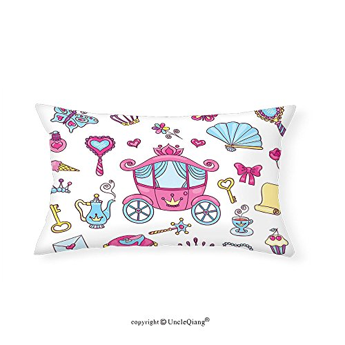 VROSELV Custom pillowcasesGirly Decor Collection Princess Theme Pattern Carriage Tiara Wand Butterfly Key Fairy Tale Girls Room Kids Nursery Bedroom Living Room Dorm Pink Blue(12''x24'') by VROSELV