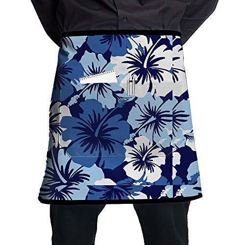 Bralla Hawaii Aloha Blue Floral Half Body Waist Apron With Pocket For Bartenders, Cooking ()