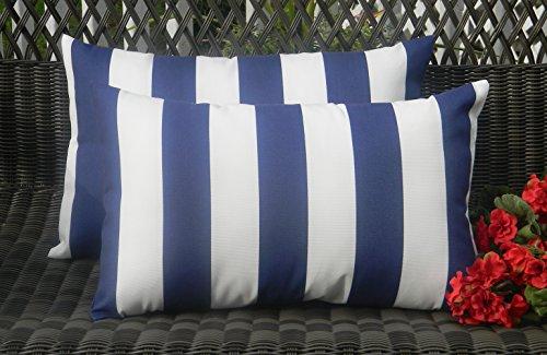 Set of 2 - Indoor / Outdoor Rectangle / Lumbar Decorative Throw / Toss Pillows ~ Navy Indigo Blue and White Stripe