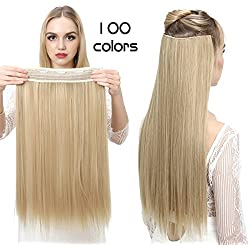 """SARLA 24"""" Straight 1Pc 3/4 Full Head Clip In Hair Extension Synthetic Hair Extensions Japan Heat Resistant Fiber 50 Colors Available 666(Champagne Blonde#22#)"""