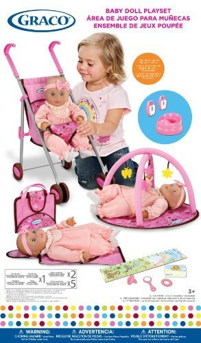 Graco Baby Doll Playset with Stroller, Playgym, Travel Bag, Potty, Baby Monitors and Accessories ()