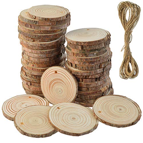 50 Pcs Natural Wood Slices Unfinished Predrilled Round Discs Hole Wooden Circles with 40 Feet Natural Jute Twine 2.4\