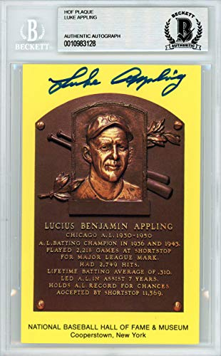 Luke Appling Signed Auto HOF Plaque Postcard Chicago White Sox - Beckett Authentic