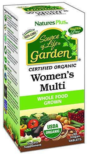 NaturesPlus Source of Life Garden Certified Organic Womens Multivitamin - 90 Vegan Tablets - Pure, Natural Whole Food Ingredients - Energy Boost - Vegetarian, Gluten-Free - 30 Servings