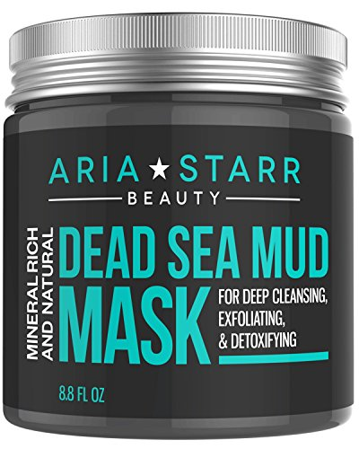 Best Cleanser Oily Face - Aria Starr Dead Sea Mud Mask For Face, Acne, Oily Skin & Blackheads - Best Facial Pore Minimizer, Reducer & Pores Cleanser Treatment - Natural For Younger Looking Skin