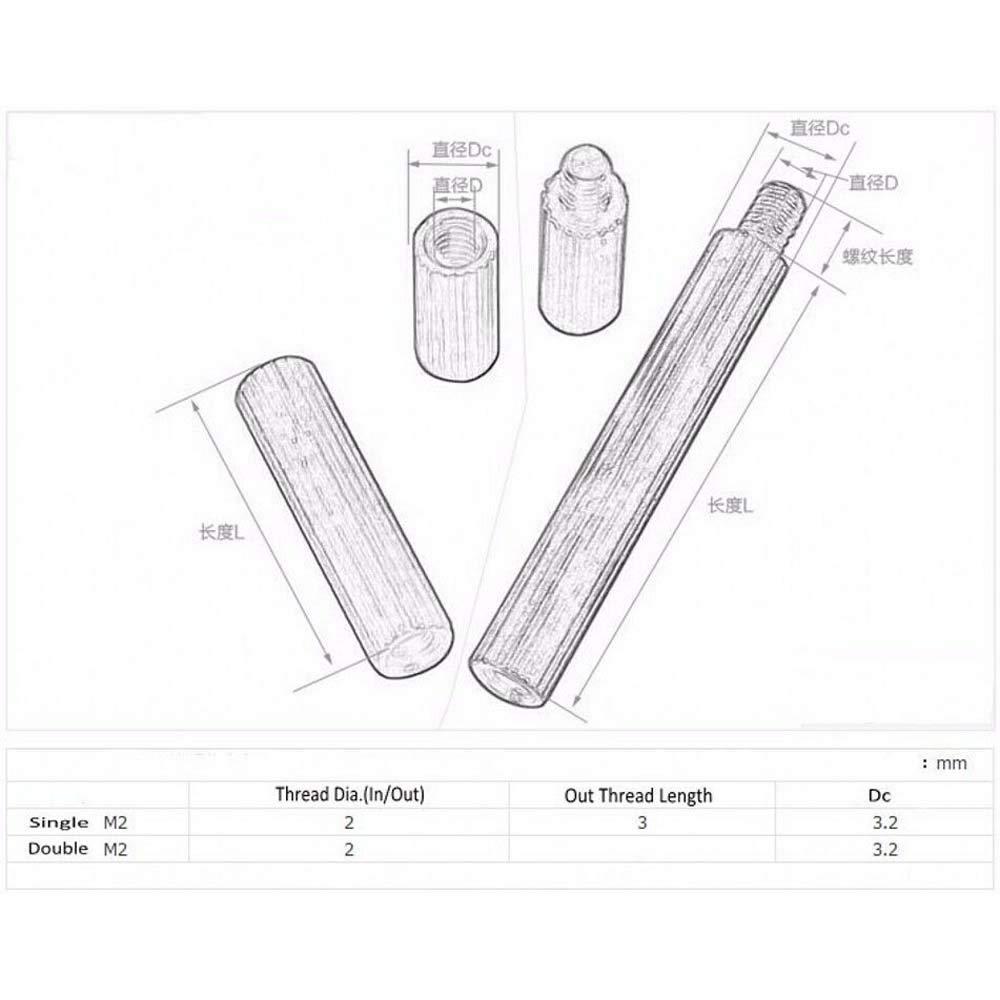 10PCS M2 2mm Thread Brass Knurled Round Spacer Standoff Riser Female-Male Screws M2x17+3 mm