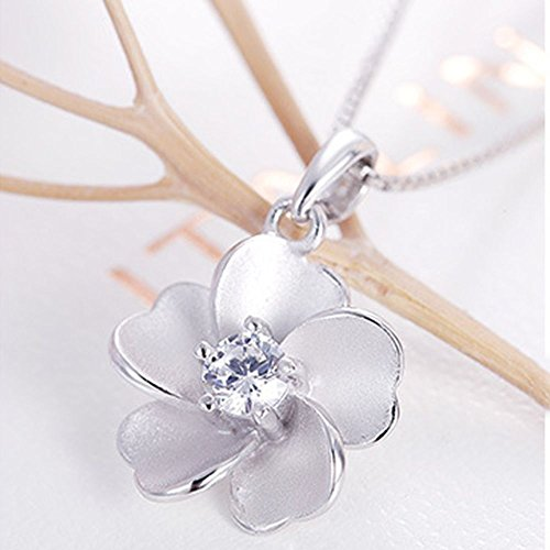 Phetmanee Shop Vintage Chain Silver Zircon Peach Blossom Women Necklace Peach Pendant Jewelry