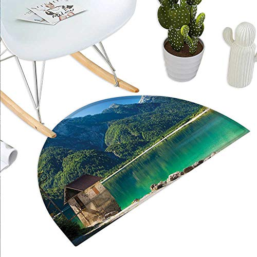 Anniutwo Italy Half Round Door mat Outdoor Predil Alpine Lake North Italy Slovenian Border Julian Alps Idyllic Scenery Half Round Indoor Door mat Sea Green Blue Ivory]()