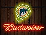 Desung Brand New 14''x10'' B udweiser Sports Team M-Dolphins Neon Sign (Various Sizes) Beer Bar Pub Man Cave Glass Neon Light Lamp BW96