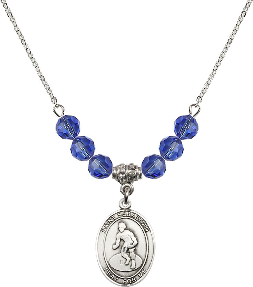 18-Inch Rhodium Plated Necklace with 6mm Sapphire Birthstone Beads and Sterling Silver Saint Sebastian/Wrestling Charm.