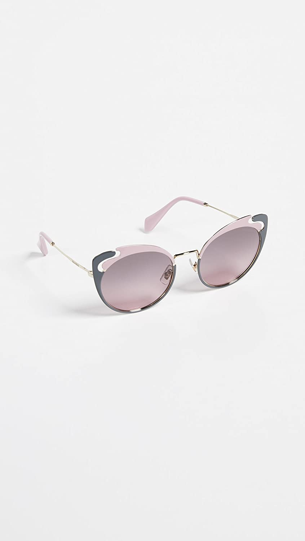 c4791809d Amazon.com: Miu Miu Women's See Through Cat Eye Sunglasses, Gold  Alabaster/Pink Gradient, One Size: Clothing