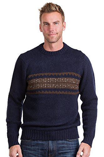 Adler Peruvian Alpaca Wool Pullover Sweater, NAVY/BROWN, Size MEDIUM (40-42)