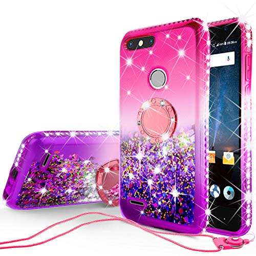 GW Cases Compatible for ZTE Blade Z Max Case,ZTE Sequoia Case,ZTE Z982 Case Liquid Glitter Cute Phone Case Kickstand Bling Floating Quicksand Diamond Ring Kickstand for Girls Women - (Hot Pink/Purple)