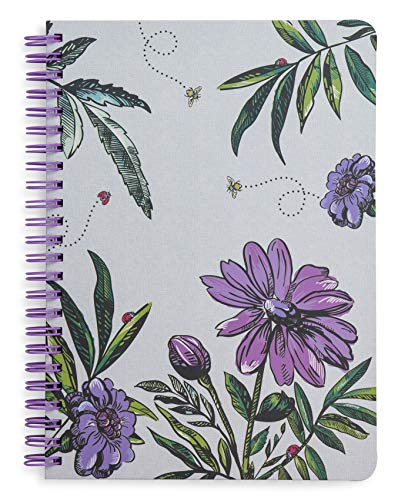 Vera Bradley Mini Spiral Notebook with Pocket and 160 Lined Pages, Lavender Meadow