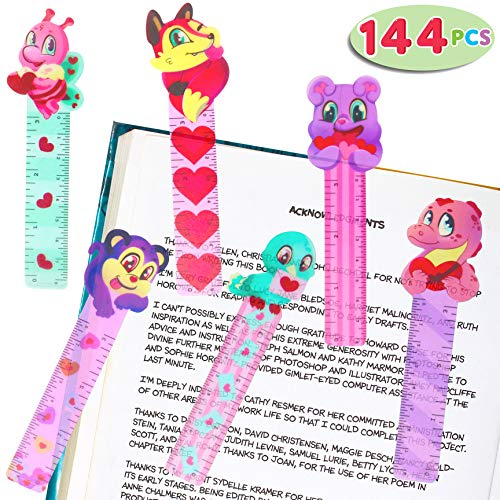 144 PCs Valentines Day Bookmark Rulers Party Favor Pack (6 Designs) with Colorful Hearts Animal Prints for Holiday Decorations, Goodies, Pink and Love Party Décor, Classroom Rewards, and Prizes.