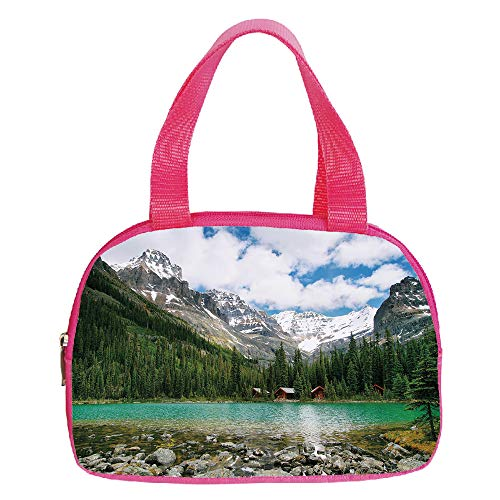 (iPrint Strong Durability Small Handbag Pink,Landscape,Canada Ohara Lake Yoho National Park with Mountains Nature Scenery Art Photo,Multicolor,for Students,3D Print Design.6.3