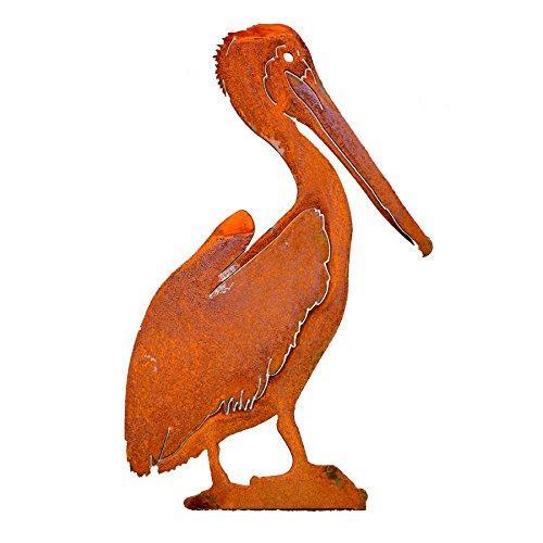 Elegant Garden Design 17-inch Brown Pelican, Steel Silhouette with Rusty Patina