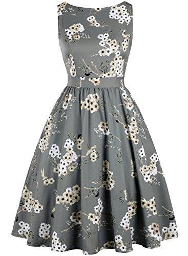 (MERRYA Women's Vintage 1950s Floral Print V-Back Party Cocktail Dresses (XXL, Gray))