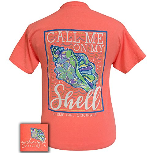 Shell Youth T-shirt (Girlie Girl Call Me On My Shell Preppy Short Sleeve T-Shirt - Youth (Large))
