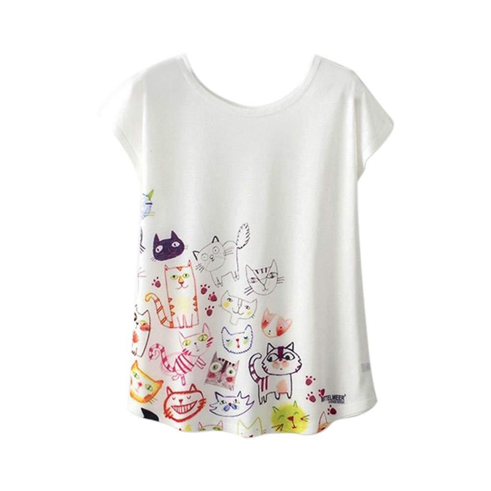 Women Flowy Tank Blouse Short Sleeve Tops,Funic Diversified Print Summer Fashion T-Shirt