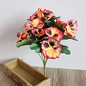 Artificial Flowers Table Party Office Pansy Fake Desk Ornament Home Decor Simulation Plant Hotel Bouquet Wedding(Orange) 36