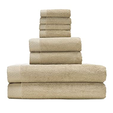 Silky Soft 8 Piece Bath Towel Set by BedVoyage a Blend of 70% Rayon from Bamboo and 30% Cotton. Feel the Eco Resort Collection of Spa Luxuriousness and Opulence In Your Own Bathroom (Champagne)