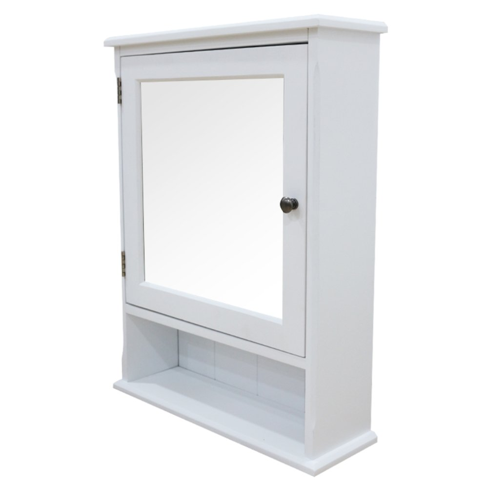 SW New Wood Framed Mirrored Bathroom Wall multi-purpose Cabinet Interior Adjustable Shelves White (white)