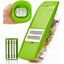 Mandoline Slicer - Premium Vegetable Potato Slicer Grater - Cutter for Tomato, Onion, Cucumber, Zucchini Pasta, Cheese - Julienne Veggie Peeler Chopper - Food Storage, 5 Blades & Hand Protector