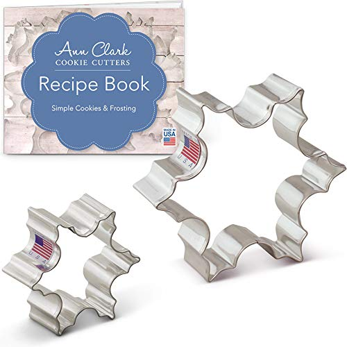 Ann Clark Cookie Cutters 2-Piece Christmas Snowflake Cookie Cutter Set with Recipe Booklet, 2.5""