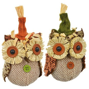 "Autumn Harvest Decor ~ 5"" Owl Ornaments (Set of 2)"