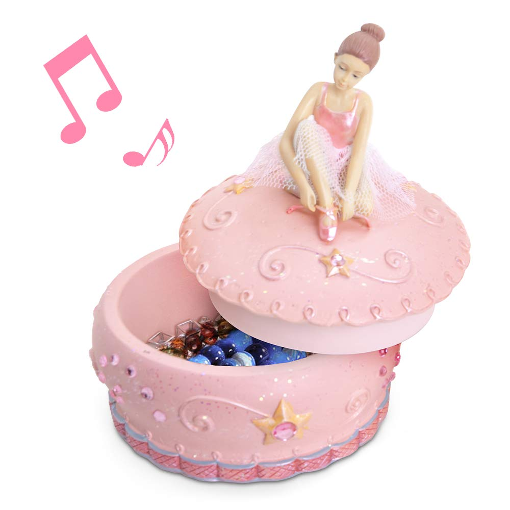 mrwinder Girl's Jewelry Music Box with Ballerina - Merchandise Classic Ceramic Treasure Bowl-Shaped Pink Best Gift Christmas, Valentine' Day for Kids, Girls, Friends, Women