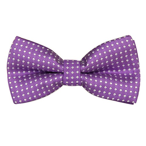 (Boys Children Kids Solid Color Satin Banded Bow Ties Various Color (Purple White Polka Dot))