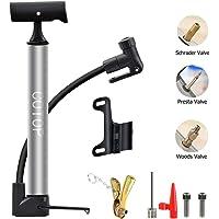 COTOP Bomba para Bicicleta, Mini Bombas de Aire para Bicicletas con Manguera Flexible y adaptadores, se Adapta a la válvula Presta y Schrader y a la Aguja de la Bomba de Bola de la válvula Woods
