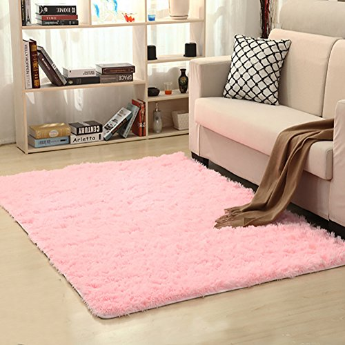 LOCHAS Soft Indoor Modern Area Rugs Fluffy Living Room Carpets Suitable for Children Bedroom Decor Nursery Rugs 4 Feet by 5.3 Feet (Pink) (Rugs Pink Nursery)