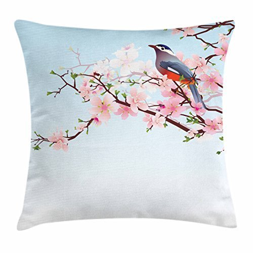 Dick Sidney Birds Throw Pillow Cushion Cover, Blossoming Cherry Tree with a Japanese Robin Eastern Asian Flora and Fauna Pattern, Decorative Square Accent Pillow Case Multicolor by Dick Sidney