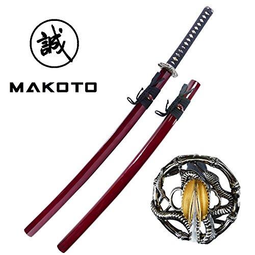 Makoto Handmade Sharp Japanese Katana Samurai Sword 40 Burgundy – Serpent Cobra Snake Tsuba