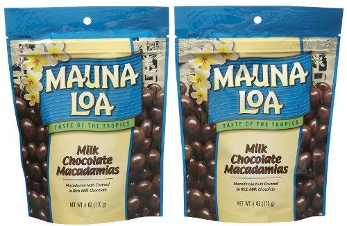 (Mauna Loa Milk Chocolate Covered Macadamia Nuts, 6-Ounce Bag (Pack of 2))