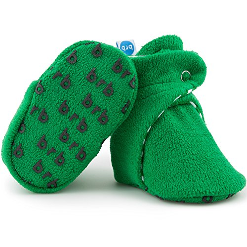 Fleece Baby Booties - Organic Cotton & Gripper Bottoms, Cozy Boys & Girls Bootie (US 5.5, Wintergreen)