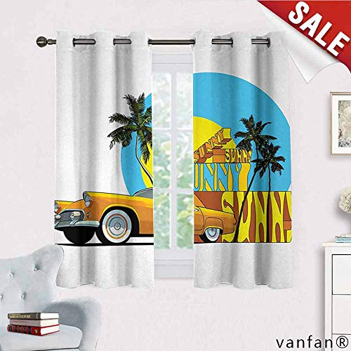 (Retro, Curtains for Living Room,Vintage Car in Magic City Miami with Exotic Coconut Trees Sunny Day Beach, Curtains to Keep Out Heat, W63 x L63 Yellow Blue Orange)