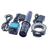 "Aihome 14MP HDMI HD USB Digital Industry Video Microscope Camera Set+Big Boom Stand Universal bracket +300X C-MOUNT Lens+144 LED Light + 8"" inch HDMI LCD Monitor (300X Zoon Lens)"