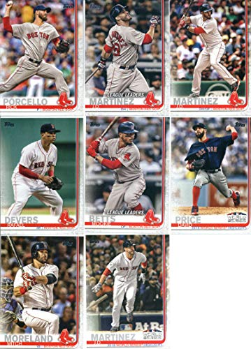 Red Boston Baseball Cards Sox Topps - 2019 Topps Series 1 Baseball Boston Red Sox Team Set of 16 Cards: Eduardo Nunez(#3), David Price(#13), J.D. Martinez(#23), Boston's Boys(#28), Mookie Betts(#50), Rick Porcello(#54), J.D. Martinez(#76), J.D. Martinez(#77), Fenway Park(#160), Xander Bogaerts(#167), Jackie Bradley Jr.(#179), Rafael Devers(#228), Mitch Moreland(#262), Steve Pearce(#275), Mookie Betts(#312), David Price(#314)