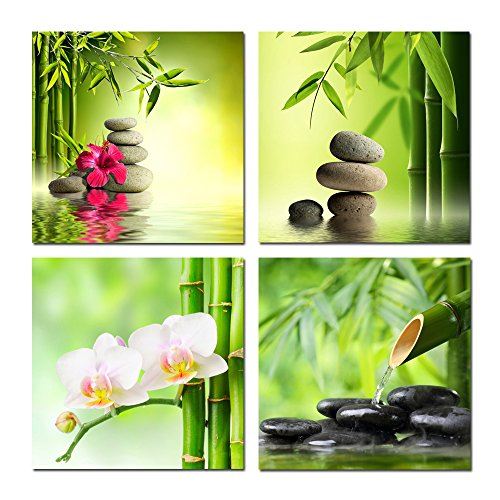 Kreative Arts - Relaxing Spa Energy Stones Bamboo Green in Garden with Flow Water Canvas Wall Art Modern Home Decor Canvas Prints Giclee Printing Ready to Hang 16''x16''x4pcs/set (Box 16' Square Flower)