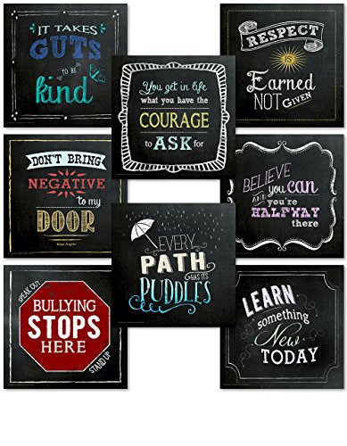 ECHO-LIT Inspirational Quote Mini Classroom Posters. Chalkboard Art Prints Covering Character, Kindness, Courage, Learning and More.