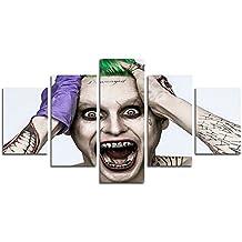AtfArt 5 Piece Jared Leto Joker suicide squad print canvas poster decoration (No Frame) Unframed HB23 50 inch x30 inch