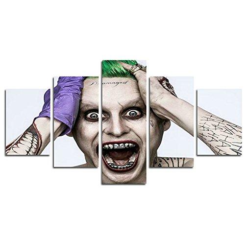 AtfArt 5 Piece Jared Leto Joker suicide squad print canvas poster decoration (No Frame) Unframed HB23 50 inch x30 inch]()