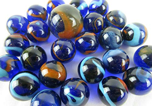 Big Game Toys~25 Glass Marbles Dragonfly Translucent Transparent Cobalt Blue/Orange Classic Style Game Pack (24 Player, 1 Shooter) Decor/Vase Filler/Aquarium