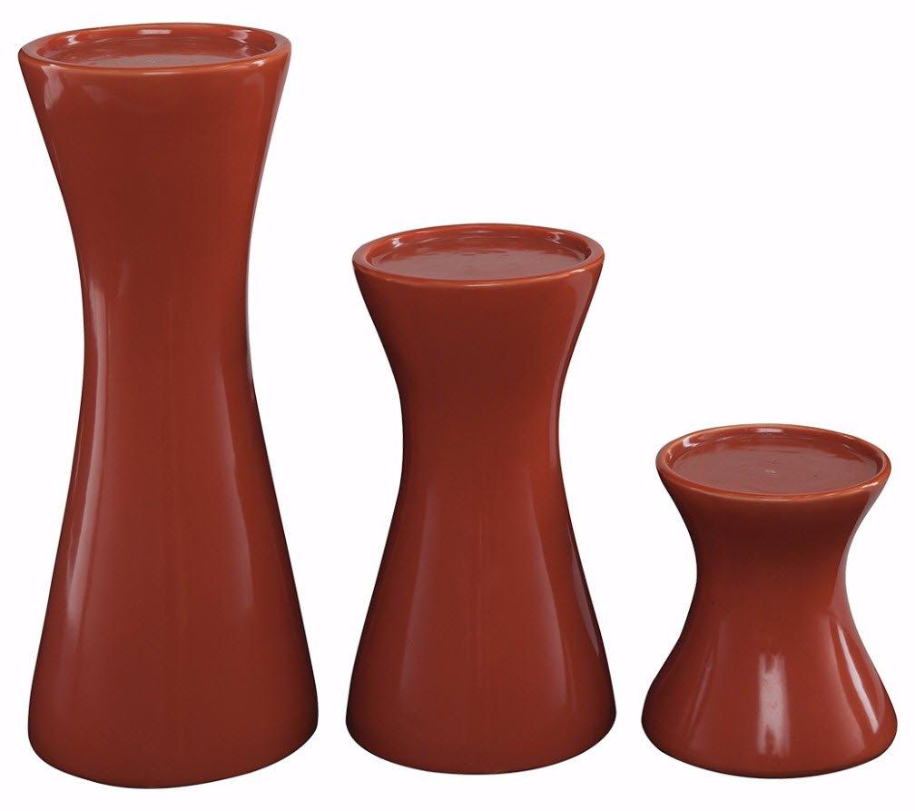 Ashley Furniture Signature Design - Cais Ceramic Candle Holder Set - 3 Pieces - Assorted Sizes - Contemporary - Orange