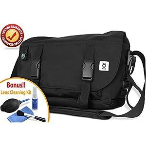 ROMS Messenger Camera Shoulder Bag - Waterproof, Lightweight, Protective, Compact Cross Body Camera Bag for DSLR and Mirrorless Cameras & 13-inch Laptop + FREE Bonus Lens Cleaning Kit - Black